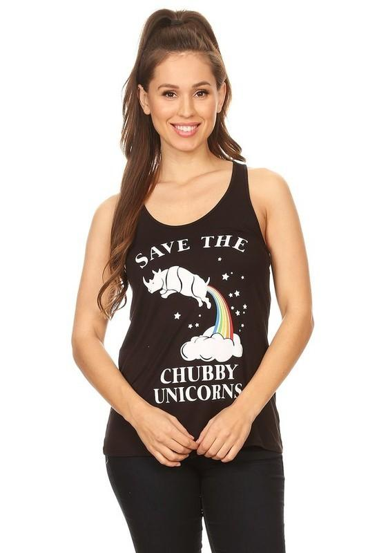 Save the Chubby Unicorns Tank - by Clothing of America - available at rkcollections.myshopify.com -  - Tops