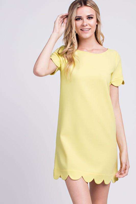 Scalloped Hem Short Sleeve Dress - by Mittoshop - available at rkcollections.myshopify.com -  - Dress