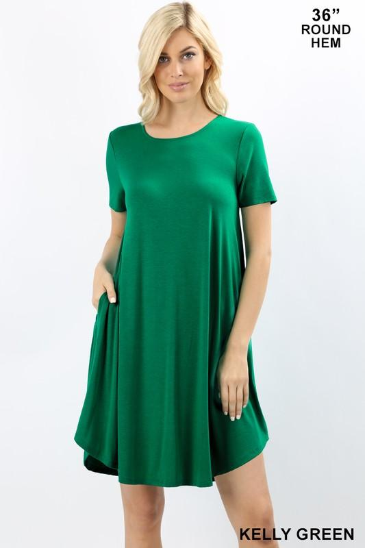 Short Sleeve A-Line Dress with Pockets - by Zenana - available at rkcollections.myshopify.com - Kelly Green / XL - Dress