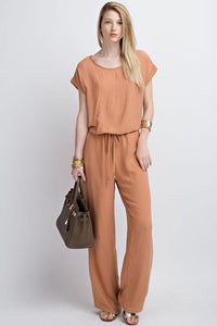 Short Sleeve Jumpsuit with Drawstring Waist - by 12PM by Mon Ami - available at rkcollections.myshopify.com -  - Jumpsuit