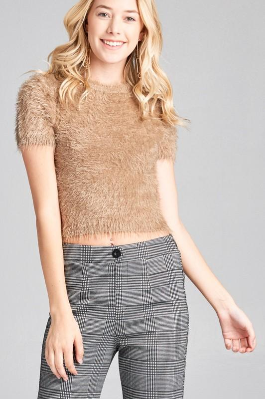 SHORT SLEEVE ROUND NECK FUZZY EYELASH TOP - by Active Basic - available at rkcollections.myshopify.com -  - Tops