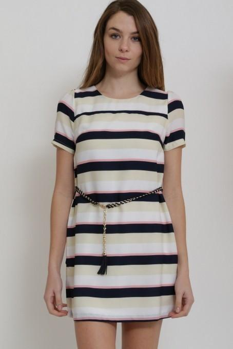 short sleeve striped dress - by Cals - available at rkcollections.myshopify.com -  - Dress