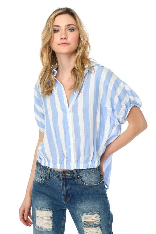 Short Sleeve Striped Top with Elastic Hem - by Coverstitch - available at rkcollections.myshopify.com -  - Tops