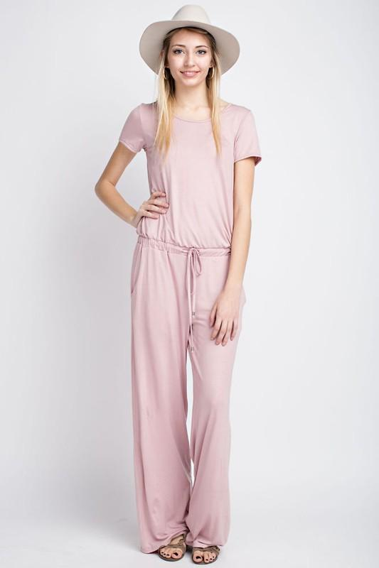 Short Sleeve Wide Leg Jumpsuit with Drawstring Waist - by 12PM by Mon Ami - available at rkcollections.myshopify.com - LARGE / Dusty Pink - Jumpsuit