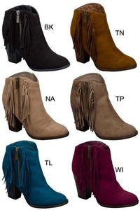 side fringe bootie - by AMA Global - available at rkcollections.myshopify.com -  - Shoe:Bootie