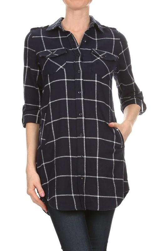 simple plaid button down flannel tunic - by May Blue - available at rkcollections.myshopify.com -  - Tops