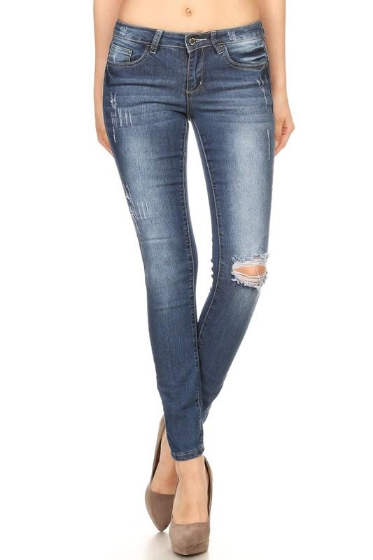 skinny jeans with ripped knee - by Denim Couture - available at rkcollections.myshopify.com -  - Jeans