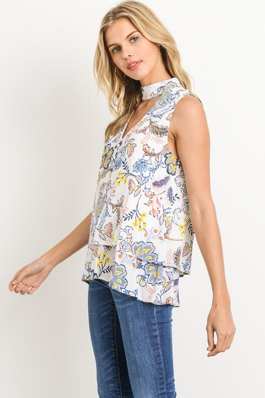 b0580b2b1c1f78 ... Sleeveless Choker Band Floral Blouse - by Gilli - available at  rkcollections.myshopify.com