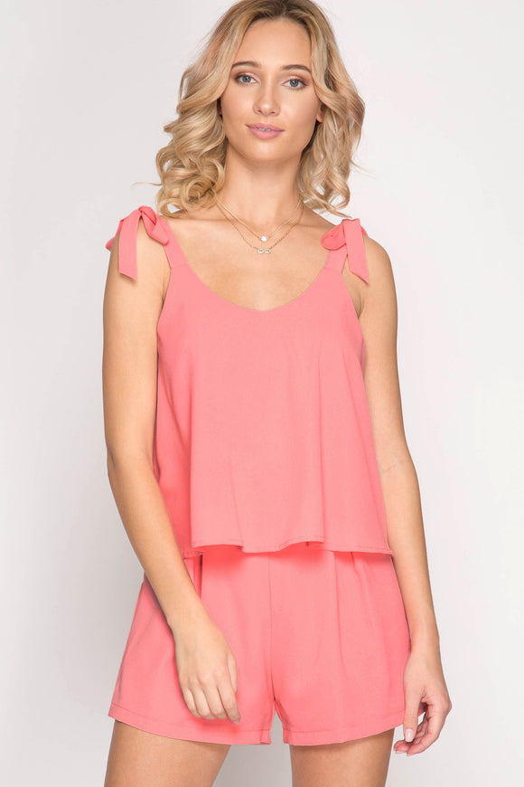 sleeveless layered romper with tie shoulders - by She + Sky - available at rkcollections.myshopify.com -  - Romper