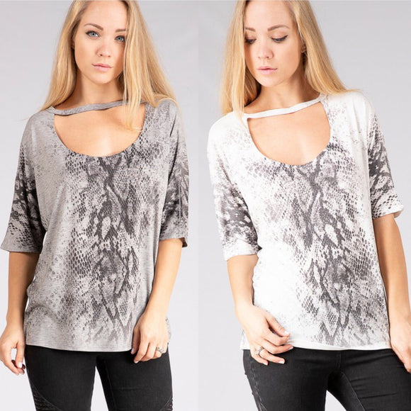 Snakeskin Cutout Top - by Fashionomics - available at rkcollections.myshopify.com -  - Tops