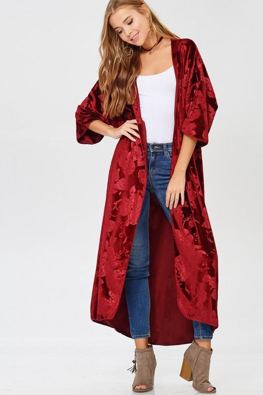 solid velvet floral duster kimono - by Lovely J - available at rkcollections.myshopify.com -  - Tops