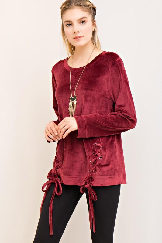 solid velvet sweater top with lace up side detail - by Entro - available at rkcollections.myshopify.com -  - Tops-Sweater