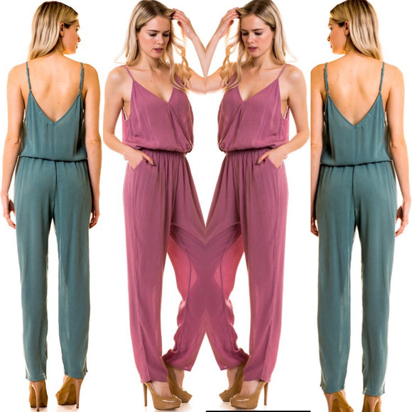 Spaghetti Strap Surplice Jumpsuit with Banded Waist - by Love Tree - available at rkcollections.myshopify.com -  - Jumpsuit
