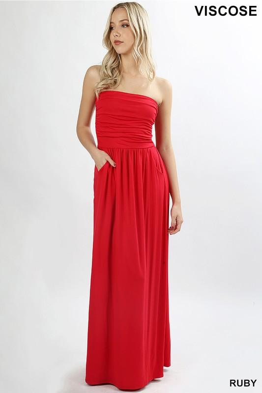 Strapless Jersey Maxi Dress - by Zenana - available at rkcollections.myshopify.com - Ruby / XL - Dress