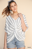 A4249-B-S-Umgee-Stripe Dolman Sleeve V-Neck Top with Gathered Knot Front-RK Collections Boutique