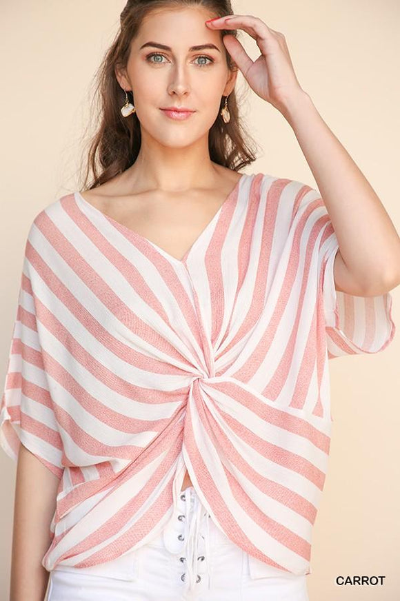 A4249-C-S-Umgee-Stripe Dolman Sleeve V-Neck Top with Gathered Knot Front-RK Collections Boutique