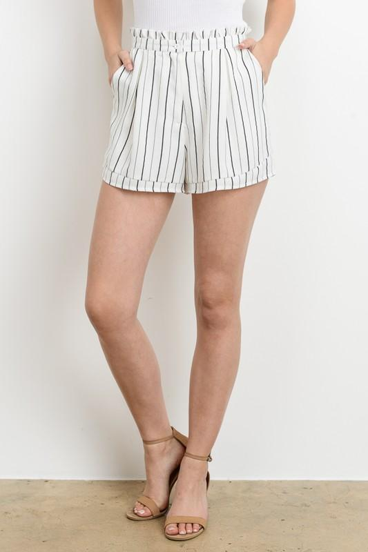 Stripe High Waisted Shorts - by Le Lis - available at rkcollections.myshopify.com -  - Shorts