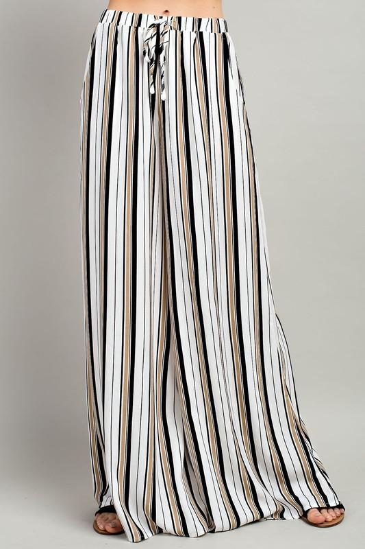 Stripe Waist Tie Pants - by LLove Show - available at rkcollections.myshopify.com -  - Pants
