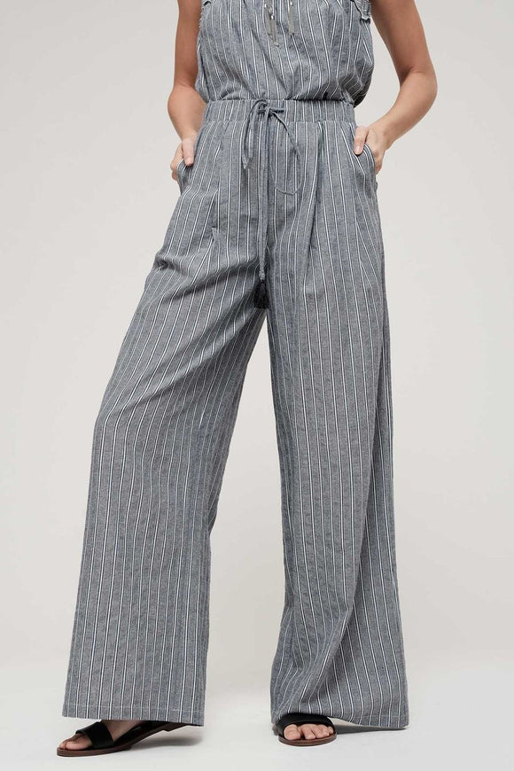 stripe wide leg linen pants - by Blu Pepper - available at rkcollections.myshopify.com -  - Pants