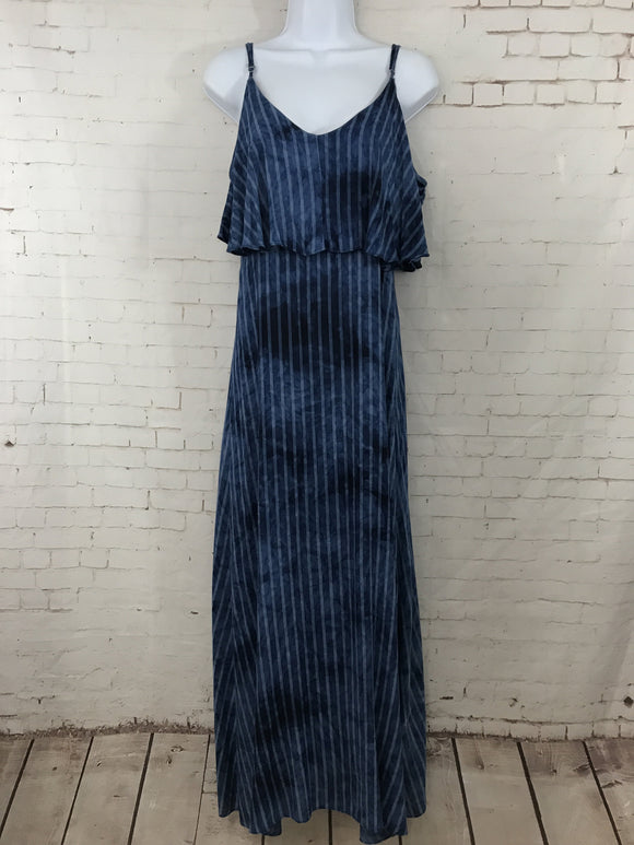 Striped Cold Shoulder Maxi Dress with Ruffle - by I Joah - available at rkcollections.myshopify.com -  - Dress-Cold Shoulder
