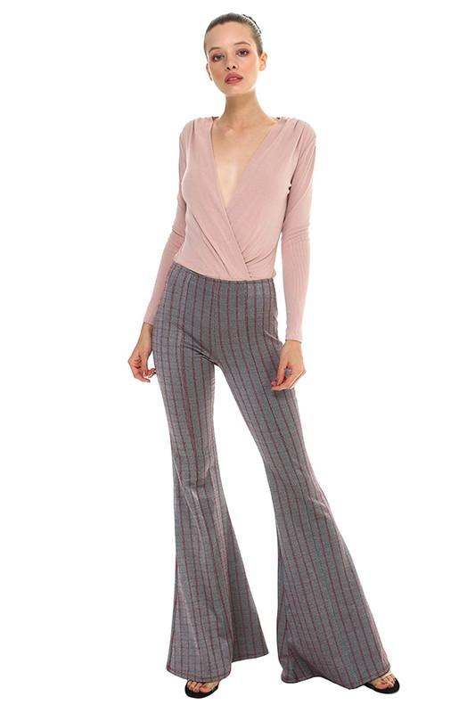 Striped Flare Stretch Pant - by TCEC - available at rkcollections.myshopify.com -  - Pants