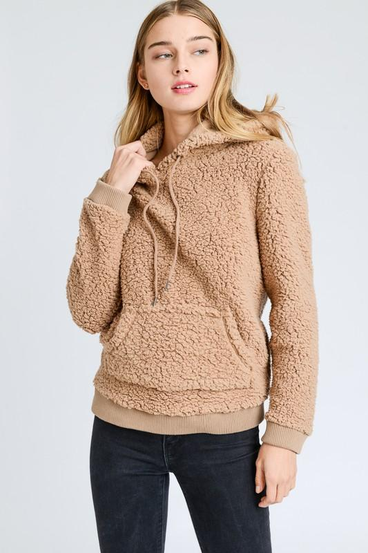 Super Soft Sherpa Front Pocket Hoodie Pullover - by Love Tree - available at rkcollections.myshopify.com -  - Tops-Sweater