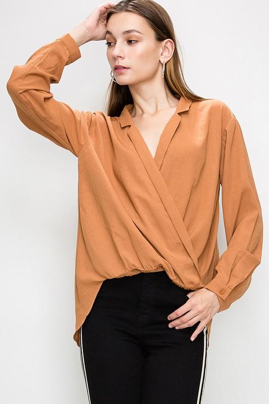 Surplice High Low Blouse - by Favlux - available at rkcollections.myshopify.com -  - Tops
