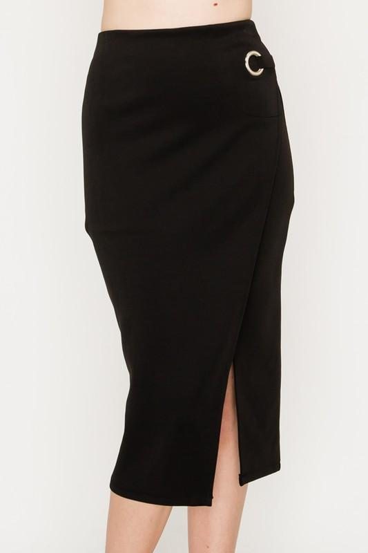 Surplice Midi Skirt with Grommet Detail - by HyFve - available at rkcollections.myshopify.com - LARGE / Black - Skirts