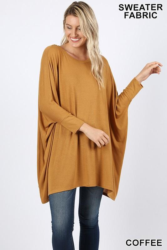 SWEATER FABRIC PONCHO WITH SLEEVES - by Zenana - available at rkcollections.myshopify.com -  - Tops-Long Sleeve