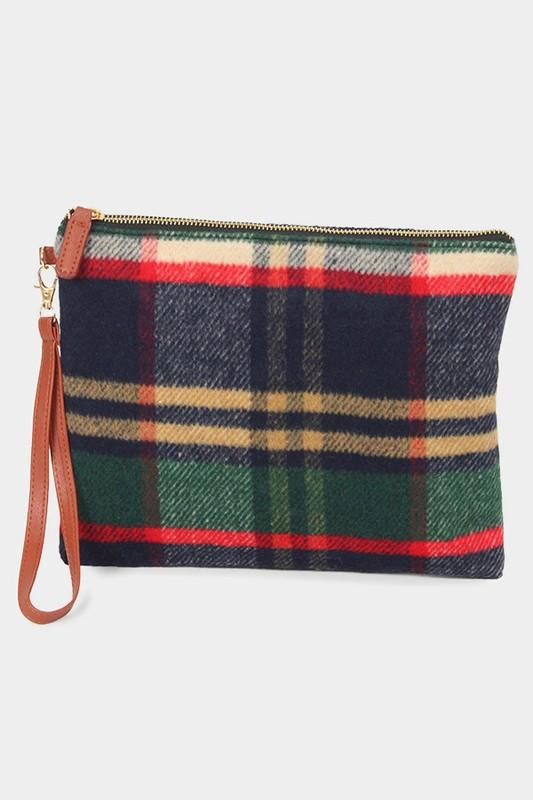 Tartan plaid buffalo check clutch bag - by Wona Trading - available at rkcollections.myshopify.com - Plaid - Accessory:Bag