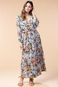 tie sleeve wrap maxi dress - by Kori America - available at rkcollections.myshopify.com -  - Dress