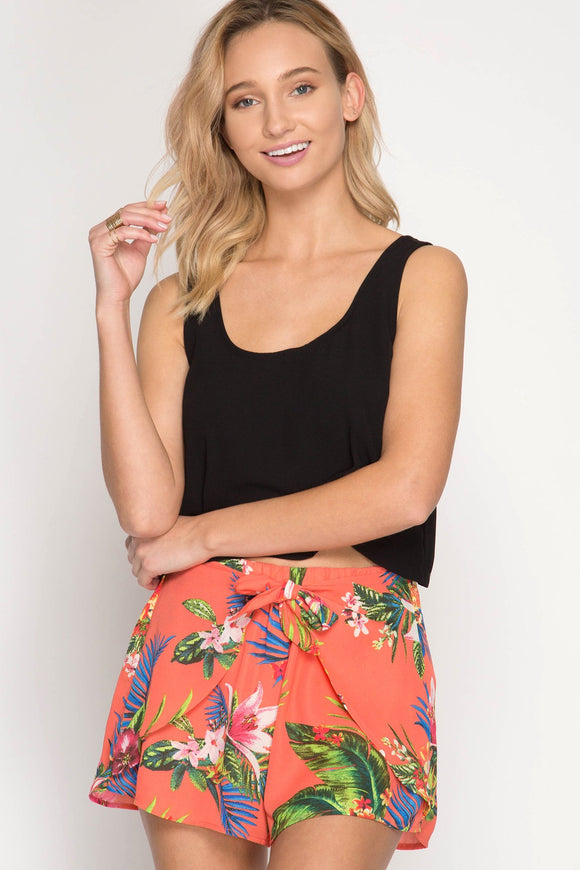 tropical print shorts with tie front - by She + Sky - available at rkcollections.myshopify.com -  - Shorts