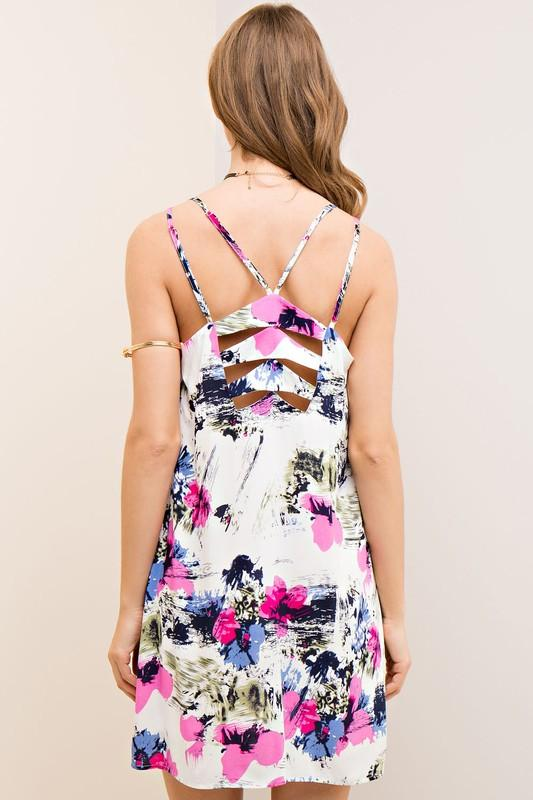 tropical sleeveless dress with back detail - by Entro - available at rkcollections.myshopify.com -  - Dress