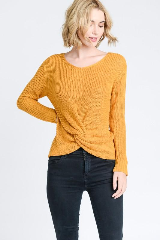 Twist knotted front long sleeves sweater - by Love Tree - available at rkcollections.myshopify.com -  - Tops-Sweater