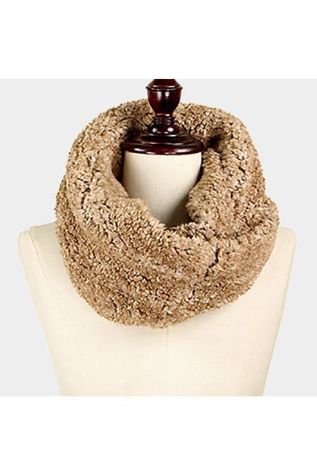 Twisted fur tube infinity scarf - by Wona Trading - available at rkcollections.myshopify.com - Taupe / ONE SIZE - Accessory:Scarf