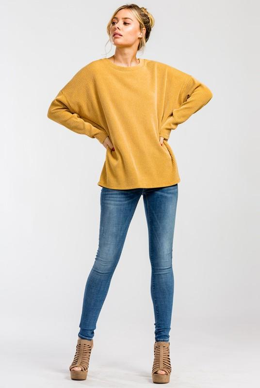 Two-tone ribbed knit long sleeve top - by Cherish USA - available at rkcollections.myshopify.com -  - Tops-Long Sleeve