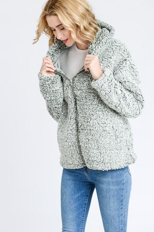Ultra Soft Two Tone Sherpa fleece Hooded Jacket - by Love Tree - available at rkcollections.myshopify.com -  - Tops-Fleece
