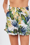 Tropical print elastic waist shorts