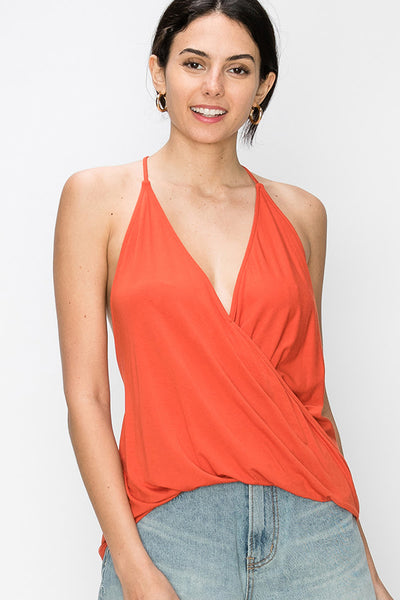 Jersey surplice twist hi lo hem halter top - by Favlux - available at rkcollections.myshopify.com - Brick / LARGE - Tops-Sleeveless