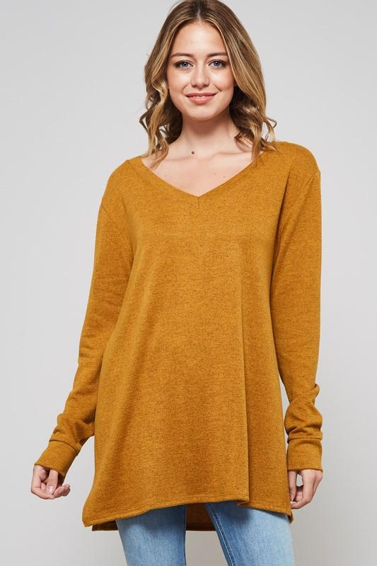 V-Neck Sweater Top - by Bellamie - available at rkcollections.myshopify.com -  - Tops-Sweater