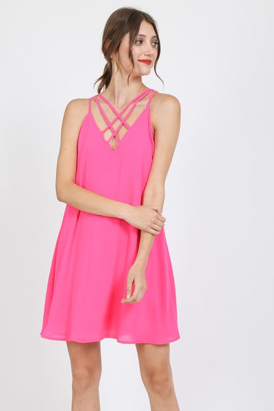 chiffon a-line dress with criss cross straps