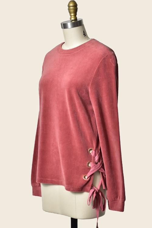 velour long sleeve top with lace up side - by Trend Shop - available at rkcollections.myshopify.com -  - Tops