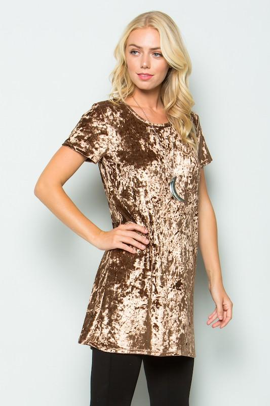 velvet short sleeve tunic dress - by Acting Pro - available at rkcollections.myshopify.com -  - Dress
