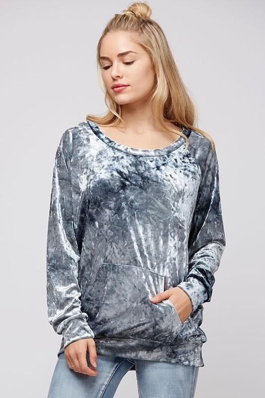 velvet top with kangaroo pocket - by Fantastic Fawn - available at rkcollections.myshopify.com -  - Tops