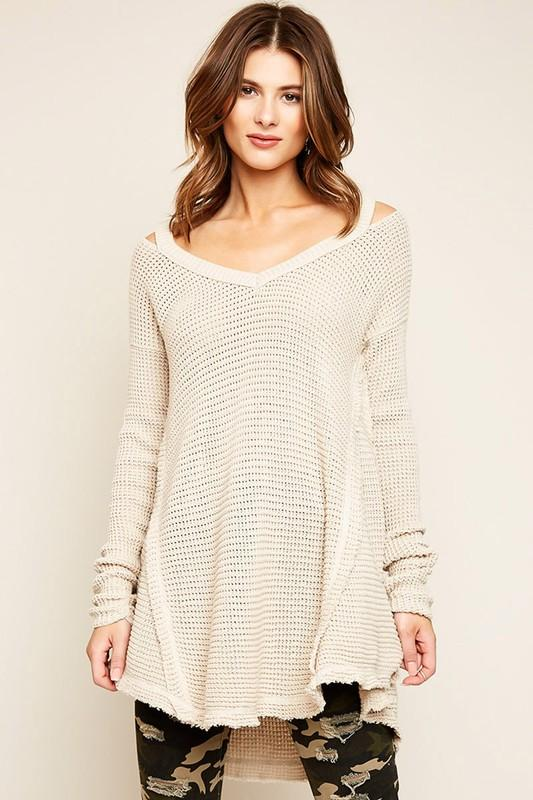 waffle knit high low sweater top - by hayden - available at rkcollections.myshopify.com - Stone / LARGE - Tops-Sweater