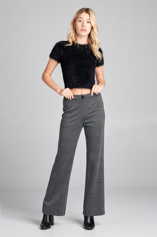 WAISTBAND w/BUTTON LONG WIDE CHECK PANTS - by Active Basic - available at rkcollections.myshopify.com -  - Pants