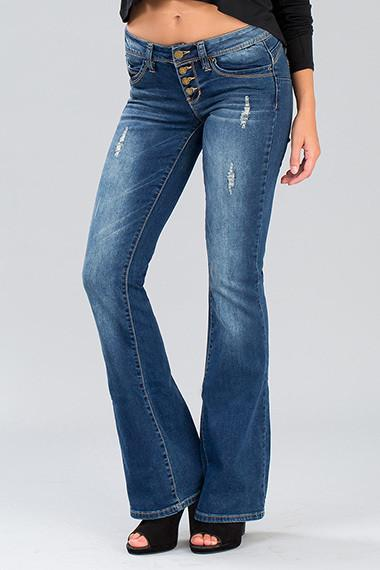 wannabettabutt four-button flare jean - by YMI - available at rkcollections.myshopify.com -  - Jeans