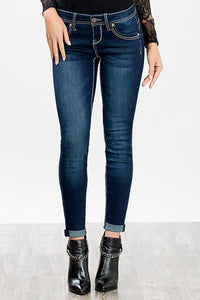 wannabettabutt heavy stitch roll-up skinny jean - by YMI - available at rkcollections.myshopify.com -  - Jeans