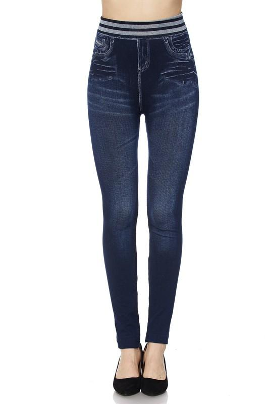 Washed Denim Ankle Leggings with Waist Band - by 2NE1 - available at rkcollections.myshopify.com -  - Leggings
