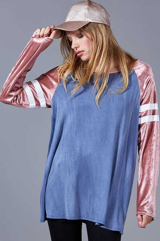 washed jersey knit top with crushed velvet sleeves - by Fantastic Fawn - available at rkcollections.myshopify.com -  - Tops-Sweater